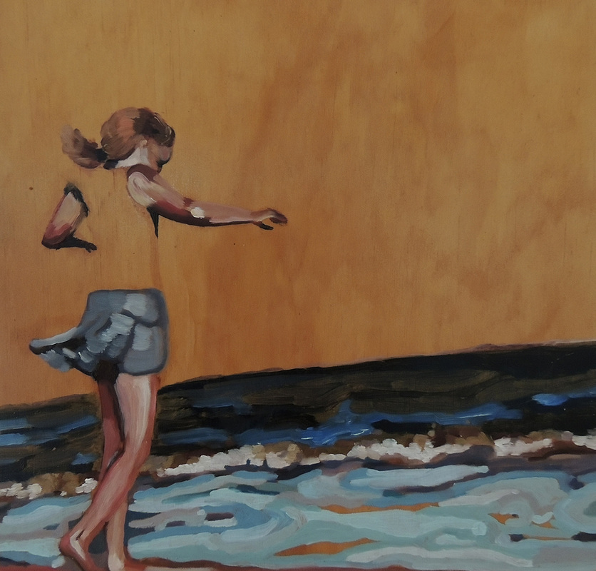 Oil painting, Oil on board, Amanda Nelson, Amanda Nelson Art, Mornington Peninsula Artist, Morninton Peninsula Art, Seaside painting, Beach, Girl by water