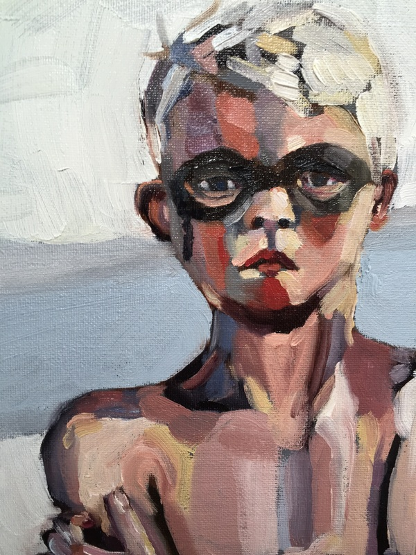 Painting, oil on canvas, portrait, Wolloomai Boy, Oakhill Gallery, Oakhill Exhibition, Mornington Peninsula Artist, Amanda Nelson, Phillip Island Painting