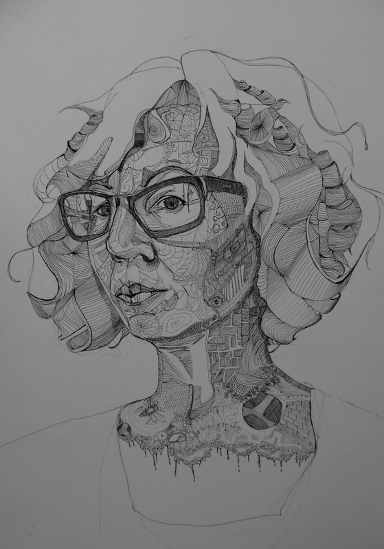Portrait Drawing, Ink on Papaer, Self portrait, Selfie, Frankston Arts Centre, Amanda Nelson, Mornington Peninsula Artist